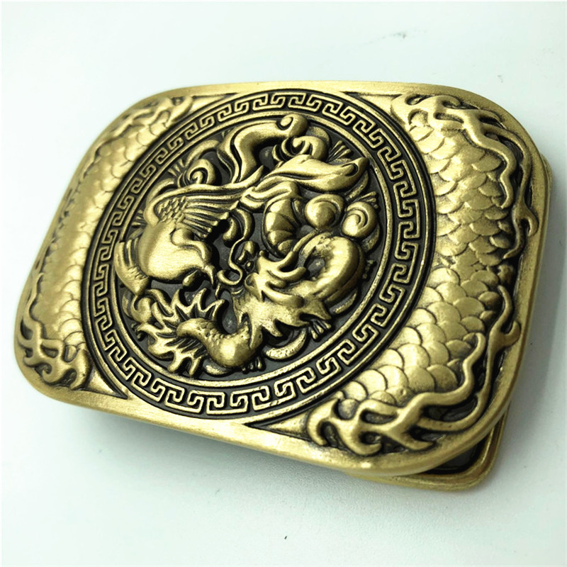 Pure Copper Vintage Antique Belt Buckle Dragon & Phoenix Western Cowboy Mens Fashion Fine Accessory