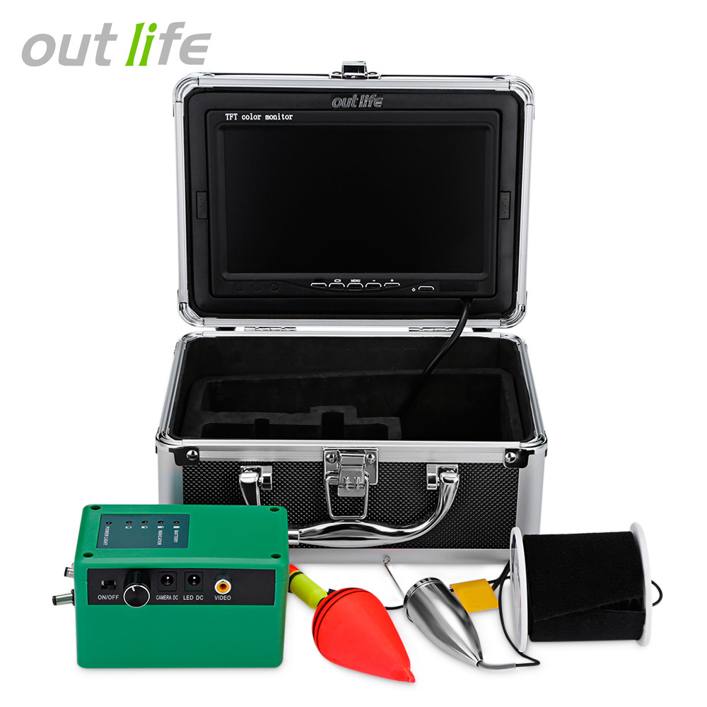 Outlife F005ME - 20M 1000TVL Underwater LED Fish Finder Video Fishing Camera with Sun Visor Portable Fish Finders