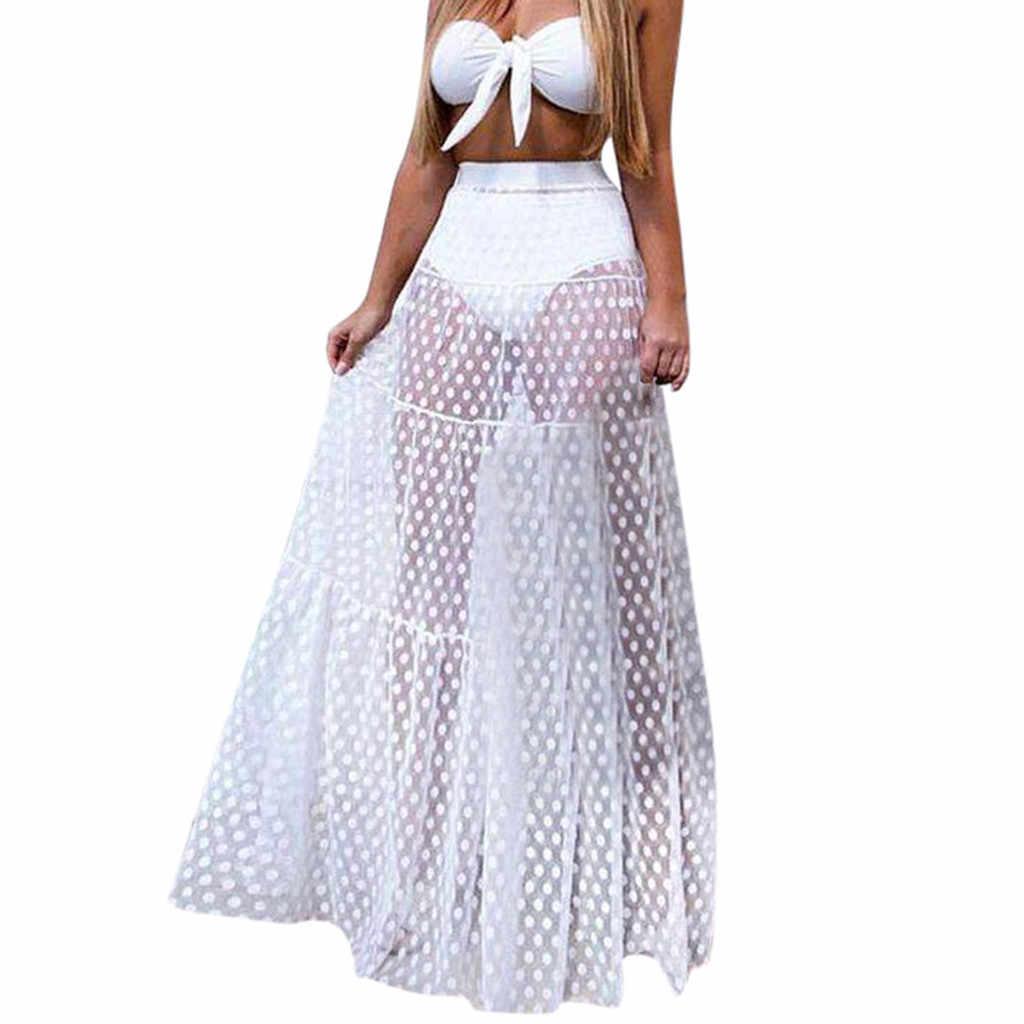 Hirigin נשים סקסי לראות דרך גבוהה מותניים מנוקדת רשת חצאית Femme מלא אורך שיפון טול החוף ארוך מקסי חצאית קיץ