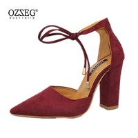 2018 Spring New Women Shoes Basic Style Retro Fashion High Heels Pointed Toe Office Career Shallow