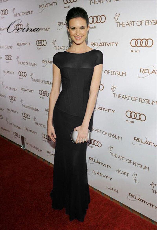 Noir violet solide O cou à manches courtes pleine longueur maille rayonne Bandage robe robe de soirée de célébrité