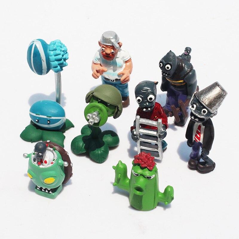 Plant VS Zombie <font><b>Figure</b></font> Toys 3-10cm PVZ <font><b>Action</b></font> <font><b>Figure</b></font> PVC Dolls 8pcs/set kunai