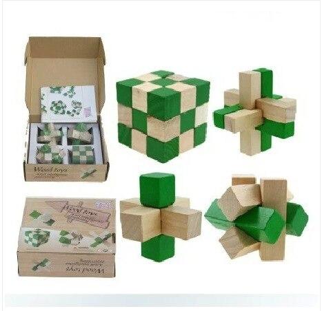 4PCS LOT Green 2 Color Toys Classic IQ 3D Wooden Interlocking Burr Puzzles Mind Brain Teaser