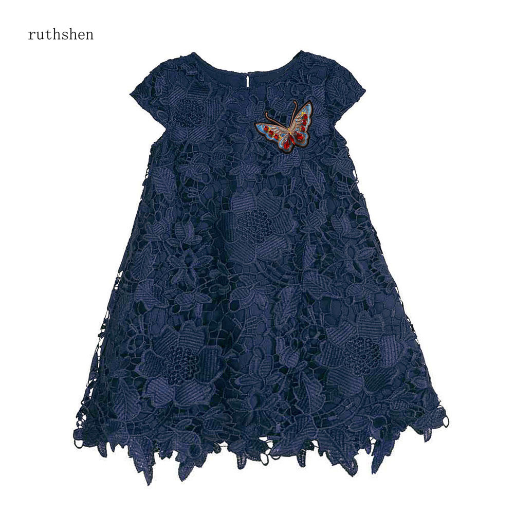 ruthshen Asymmetric Princess A-line Navy Blue Green Venice Lace Cap Sleeves   Flower     Girl     Dresses   Tea Length   Dress   For Little Kids