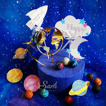 Gold White Earth Airplane Star Cloud Spaceship Cake Topper for Party Decoration Dessert lovely Gifts