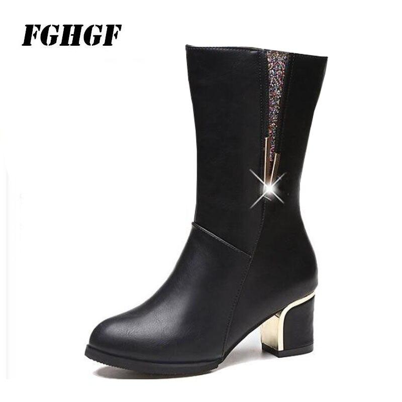 Новая осень/зима 2018 круглый носок коренастый пятки средней длины классические ботинки на высоком каблуке ботинки «мартенс»