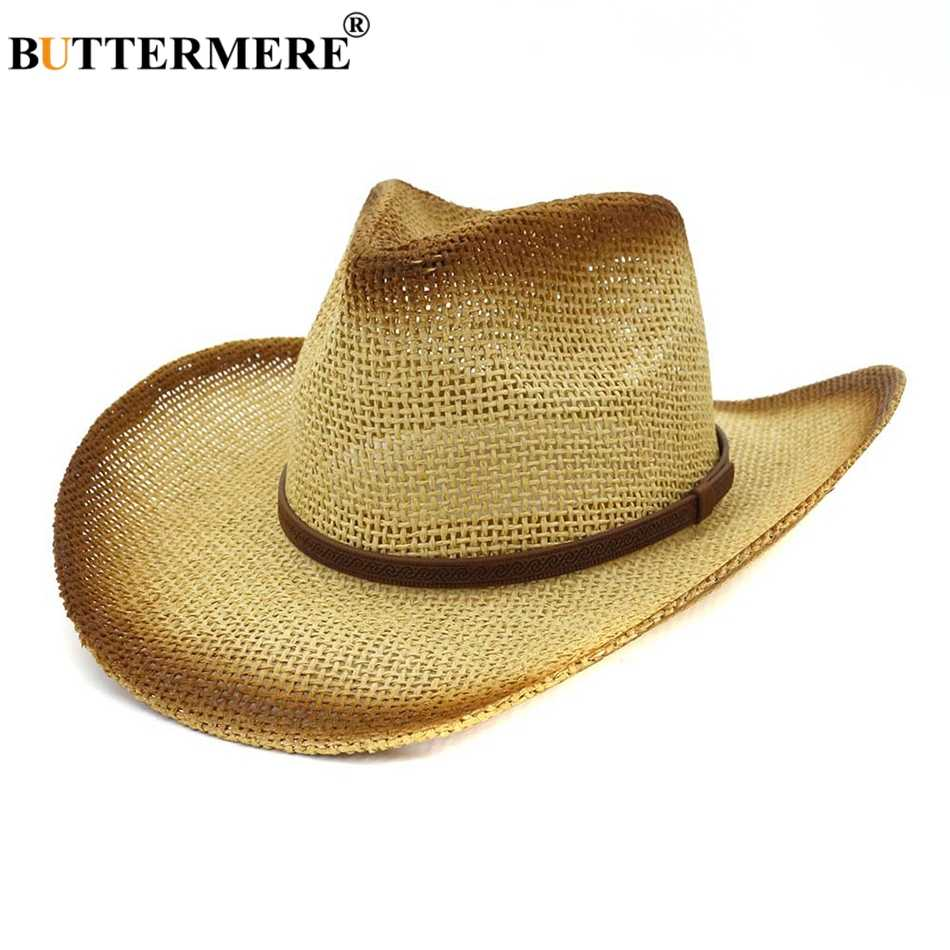 BUTTERMERE Zonnehoed Cowboy Mannen Vintage Panama Stro Hoeden Met Riem Vrouwen Beige UV Bescherming Casual Strand Brede Rand Zomer hoed