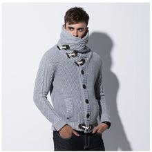 2017 brand fashion mens  cardigan sweaters men's thick stand collar pullover korean full sleeves slim solid mens sweaters