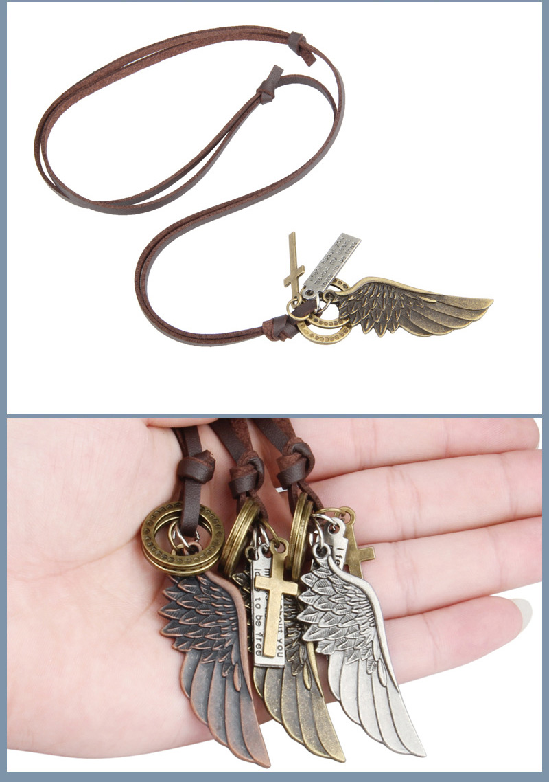 NIUYITID Feather Angel Wings Necklace & Pendants Vintage Brown Leather Neckless For Women Men Jewelry Boys Necklace Three Style (3)