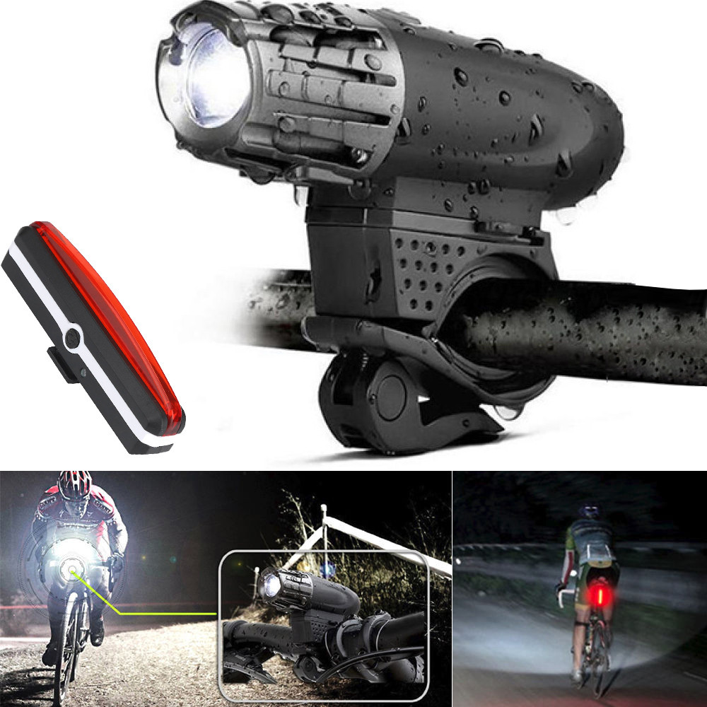 2PC Super Bright USB Rechargeable LED Bike Bicycle Cycling Headlight Front Light Tail Rear Lamp Flashlight waterproof Adjustable gaciron bicycle headlight rear light suite pack usb charge internal battery led front tail lamp cycling lighting visual warning