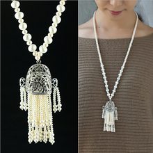 75-78cm Natural Pearl Long Necklace Fashion Weath Pendant&Tassel Small Pearl Beads Jewelry Women Pearl Coat Chain Sweater Chain(China)