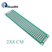 Placa pcb 2x8 cm, 1 peça, 2x8 cm, painel universal duplo, revestimento/tinning, pcb placa pcb dupla face 2.54mm