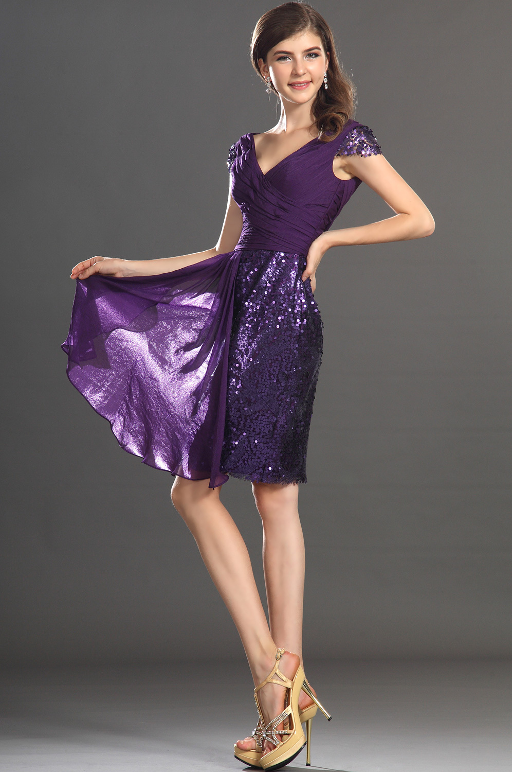 Wedding Purple Sequin Dress purple sequin coctail dress cap sleeves v neck slim fitted metallic short cocktail party in dresses from weddings event