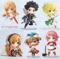 """Japão Anime Espada de Arte Em Linha Kirito Asuna Lefa De Fadas De Dança PVC Figuras de Ação Brinquedos Colecionáveis 6 pçs/set 2.5 """"6 CM"""