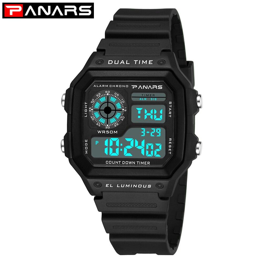 0fc7e436da2 PANARS Contagem Regressiva Esporte Ao Ar Livre Relógios Digitais para Os  Homens Chrono relógio de Pulso