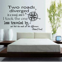 Two Roads Diverged In A Wood Wall Stickers Quotation Home Decor Bedroom Wall Decals Compasses