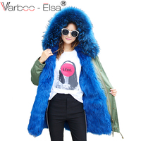 Varboo_Elsa New Fashion Warm Women Long winter Jacket fox Fur Trim Hood Parka long coat with Raccoon Fur lined Winter Coat
