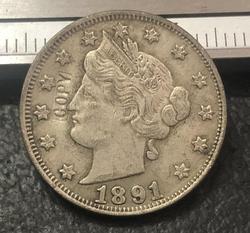 1891 никель liberty США
