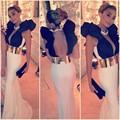 Back See Through V-Neck Mermaid Jersey Long White Black Formal Dress With Gold Sashes Abiye Gece Elbisesi