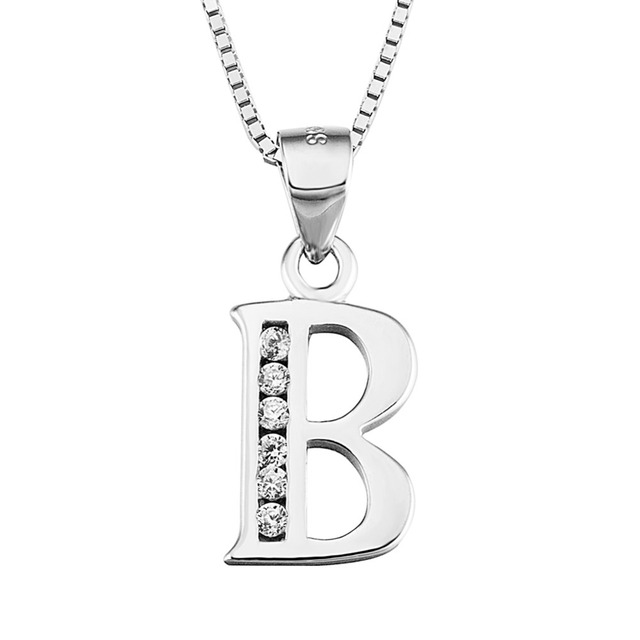 925 sterling silver jewelry letter b men women necklace 2017 aaa 925 sterling silver jewelry letter b men women necklace 2017 aaa zircon simple initial necklaces mozeypictures Choice Image