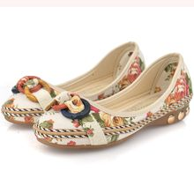 41689b9c04d1c New Flowers Bowknot Handmade Shoes Women s Floral Soft Flat Bottom Shoes  Casual Sandals Folk Style Women Shoes