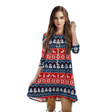 NEW 003 Sexy Girl Summer Christmas elk Snowman Stripe knit Bandana 3D Print Party Half Sleeves Skater Pleated Women Dress