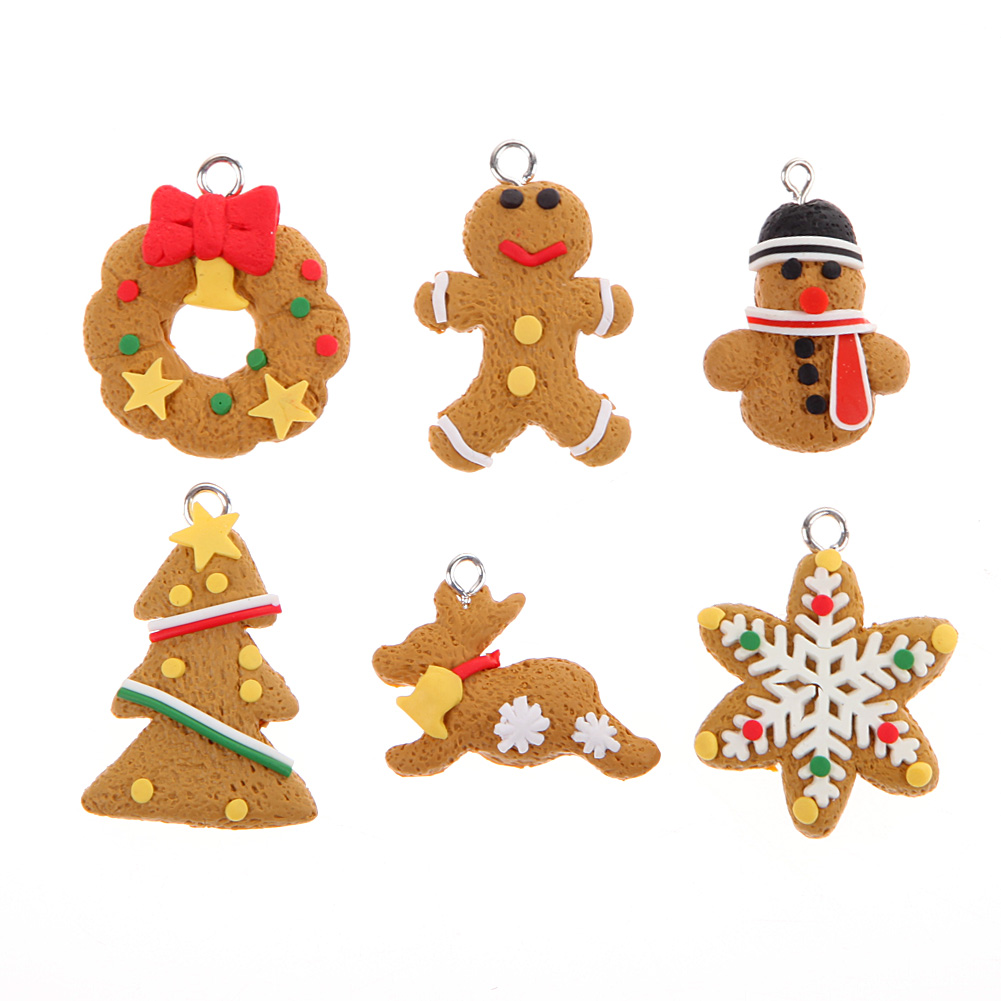 Set of 6 Small Christmas Tree Decoration Ornament Polymer Clay