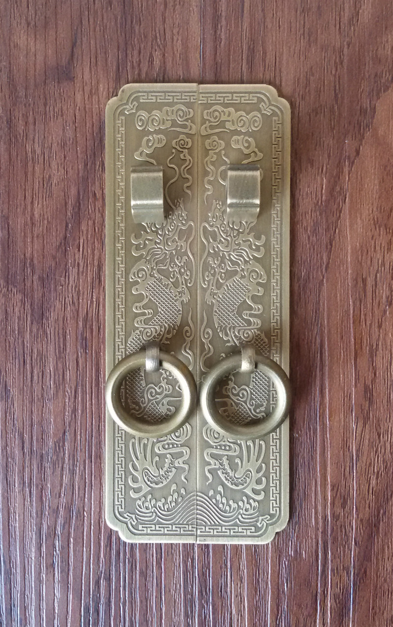 Special offer! Chinese antique furniture accessories copper / copper handle cabinet door bookcase top cabinet Yunlong copper han chinese furniture decorative copper accessories cabinet door latches lock long semicircle decoration accessories