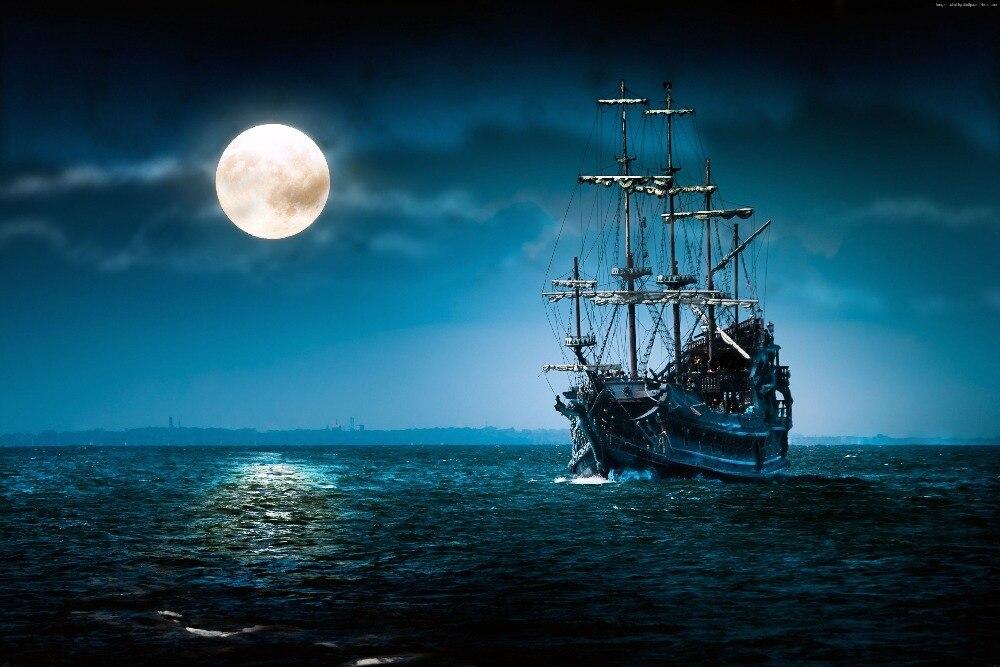 7x5ft Dark Moon Cielo Mare Jolly Roger Pirate Ship Di Notte Su