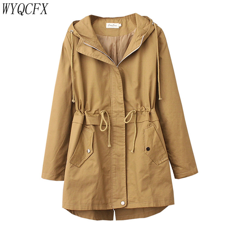 Plus Size 4XL   Trench   Coat Women Korean Fashion Adjustable Waist Outwear 2019 Spring Autumn Lady Casual loose Hooded Windbreaker