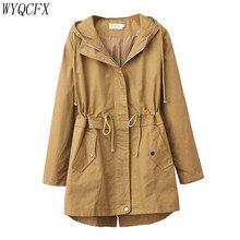Plus Size 4XL Trench Coat Women Korean Fashion Adjustable Waist Outwear 2019 Spr