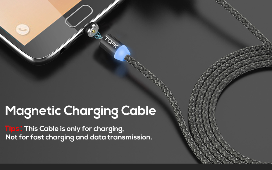 TOPK AM17 1M LED Magnetic Micro Type C USB Cable For Mobile Phones 22