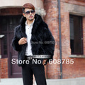 Black/Gray/Khaki New 2014 Autumn Winter Men's Faux Fox Fur Coat Jacket Hooded Faux Fur Coats Men Outerwear Free shipping B1248