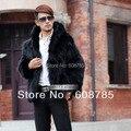 Negro / gris / de color caqui nuevo 2014 otoño invierno hombre de imitación de piel de zorro chaqueta de la capa con capucha de piel falsa abrigos hombres envío gratis B1248