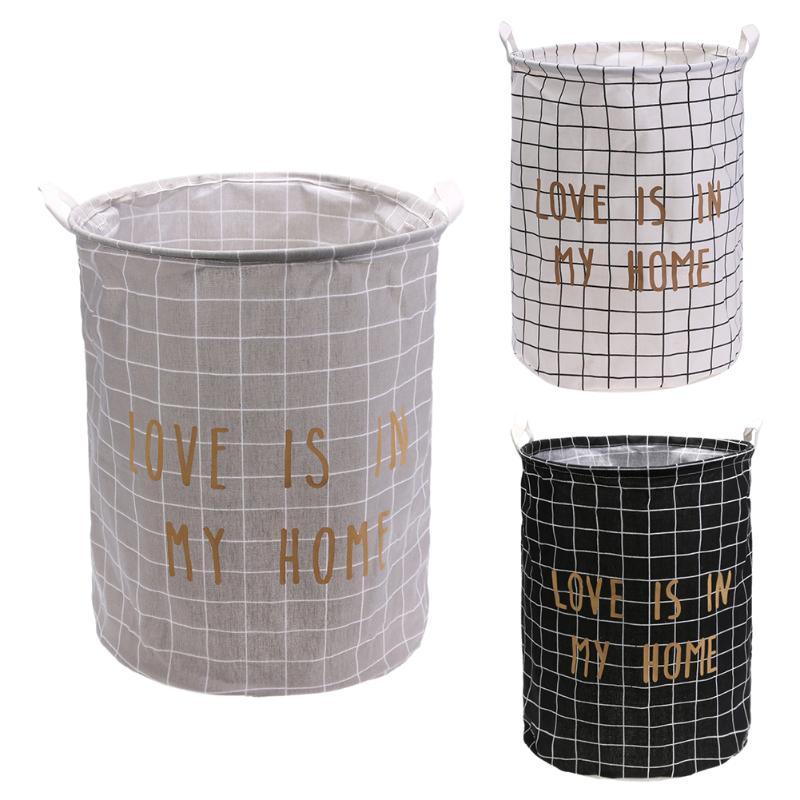 Grandes niños de juguete ropa de almacenamiento de barril cesta de lavandería plegable impermeable de dibujos animados de almacenamiento cubo hogar ropa organizador