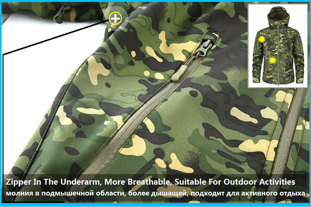 Men's Military Camouflage Fleece Jacket Army Tactical Clothing 20