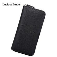 LUCKYER BEAUTY Men's Zipper Long Wallet 2017 New Fashion Card Holder for Male Business Men Coin Purse Cell Phone Clutch Bag цена