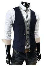 Navy Blue And Gray Mens Vests Slim Fit Suit Waistcoats For Wedding Prom Dinner Man gilet