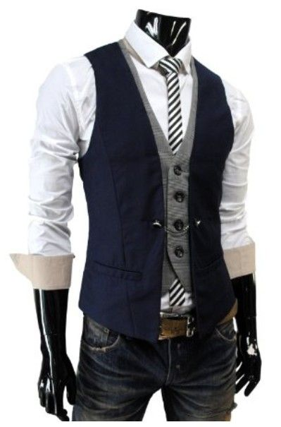 Navy Blue And Gray Mens Vests Slim Fit font b Suit b font Waistcoats For Wedding