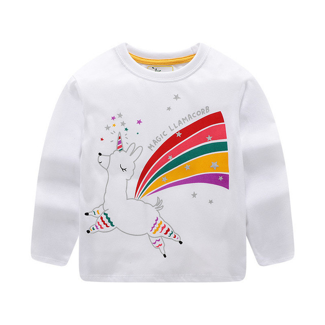 Jumping meters 2020 Unicorn Girls Long Sleeve T shirts 100% Cotton Tops Children Animals Clothing Autumn Spring T shirts Kids 6