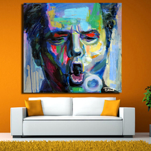 New Canvas Wall Art Abstract Modern Colorful Man Face Portrait Oil Painting On For Living Room Unframed
