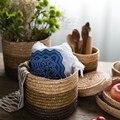 European Creative Natural Wheat Straw Handmade Woven Basket Kids Sundries Toys Storage Rattan Barrel Container Organizer Hamper