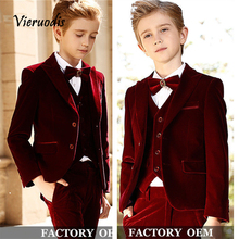 Velvet Boys Suits For Wedding Formal Groom Tuxedos Slim Kids Prom 3 Piece Suits pink boys suits groom wedding tuxedos page boy formal prom 2 piece kids suits