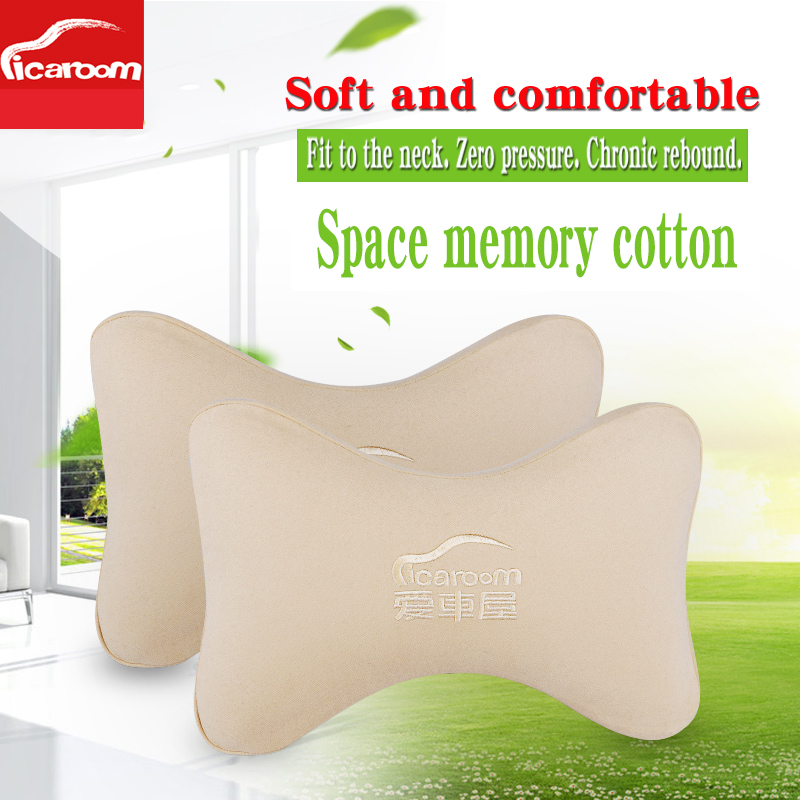 High density chronic rebound Space memory cotton Car Seat Cover Headrest Neck Pillow A pair in Neck Pillow from Automobiles Motorcycles
