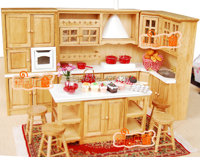 Dollhouse Kitchen Oak Island Shape Cabinet W Stove Basin Dining