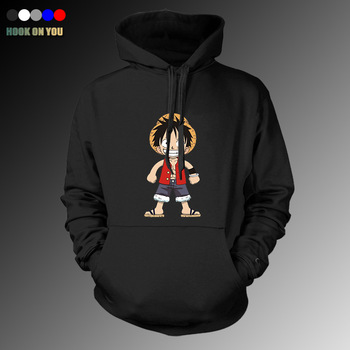 2017 New Arrival Anime One Piece Men Monkey D Luffy Pullover Hoodie Casual Fleeces Lovely Justice Print Sweatshirt Cool Clothing