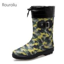 Rouroliu Men Autumn Camouflage Rainboots Non-Slip Mid-Calf Warm Rain Boots Waterproof Work Safety Shoes FR75