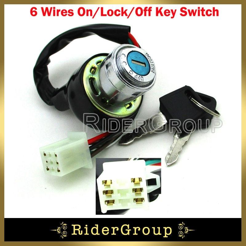 aliexpress com buy 6 wires famle electric iron key switch for kazuma 4 wheeler wire diagram kazuma falcon 90 key switch wiring diagram #22