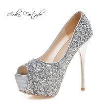 Arden Furtado 2018 Primavera Verano moda tacones altos 13 cm plataforma  stilettos zapatos de boda señoras peep toe oro partido r. cab5a688c3f8