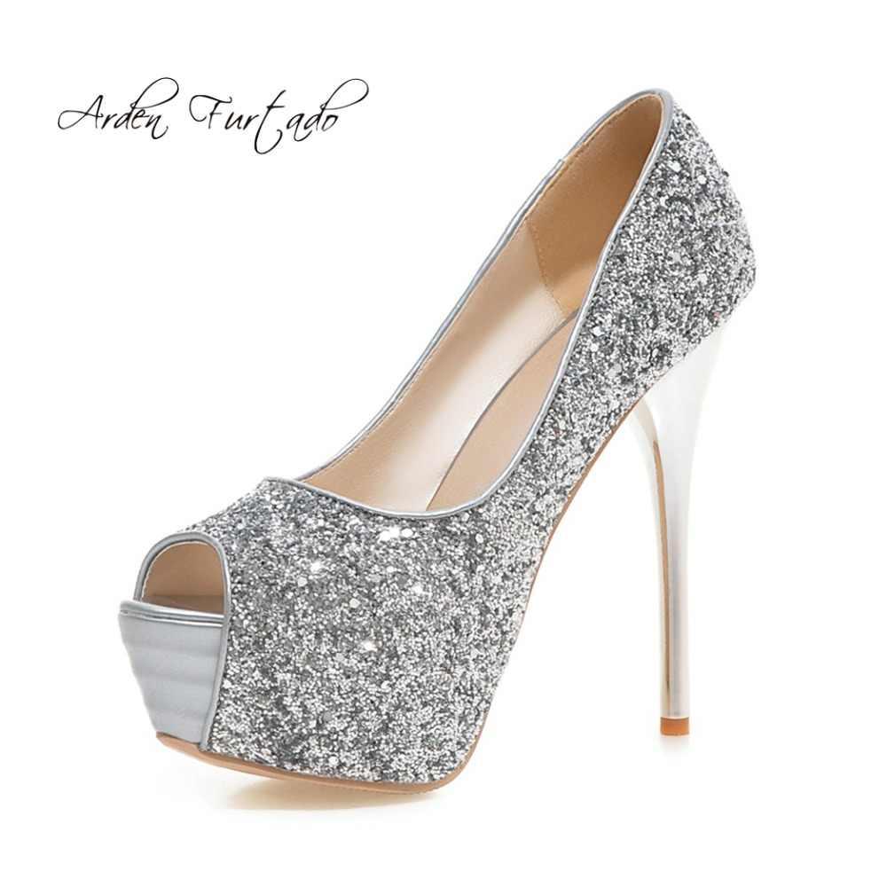825b30b21e2d Arden Furtado 2018 spring summer fashion high heels 13cm platform stilettos  wedding shoes ladies peep toe